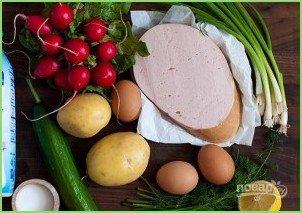 Окрошка классическая с колбасой на кефире - фото шаг 2