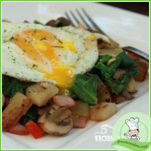 Яичница с грибами на завтрак - фото шаг 5