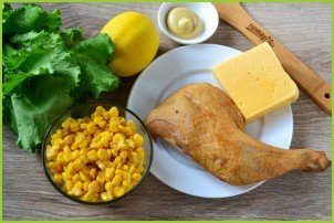 Салат с айсбергом и копченой курицей - фото шаг 1
