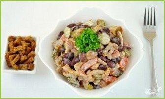 Салат с фасолью и опятами - фото шаг 7