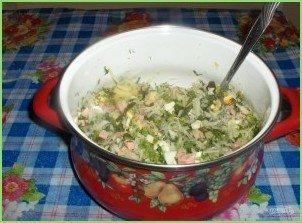Овощная окрошка на кефире - фото шаг 5